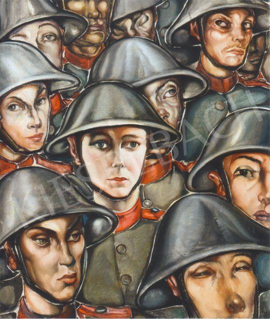 Batthyány Gyula - Katonák rohamsisakban festménye