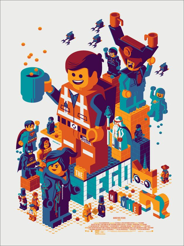 """The LEGO Movie Poster byTom Whalen 18"""" x 24""""screen print, limited to 475 prints, priced at $45, available at arandom time tod..."""