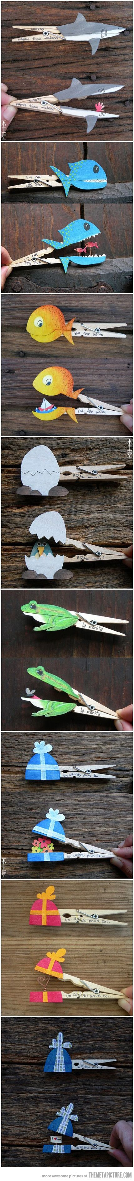 Fun With Clothespins…Kiwi would have with these