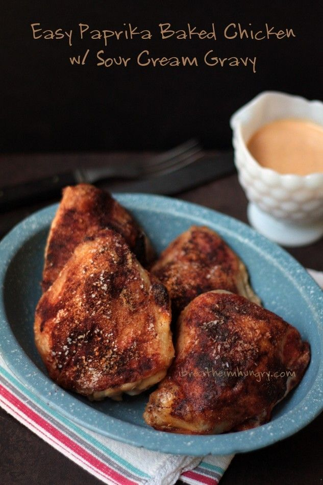 Chicken paprika with sour cream gravy! A super easy and incredibly delicious low carb and gluten free baked chicken recipe featuring paprika and sour cream. Atkins, gluten free, keto, low carb, paleo friendly.