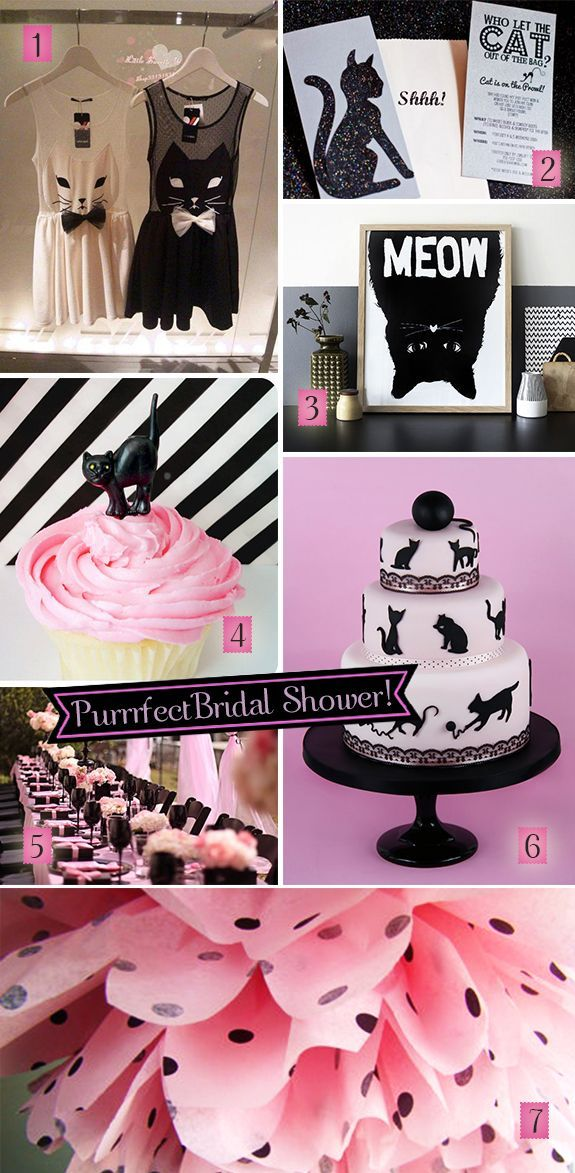 boudoir+pink+and+black+kitty+decor   Pink and black decorations, invitations, and cake for a black cats ...
