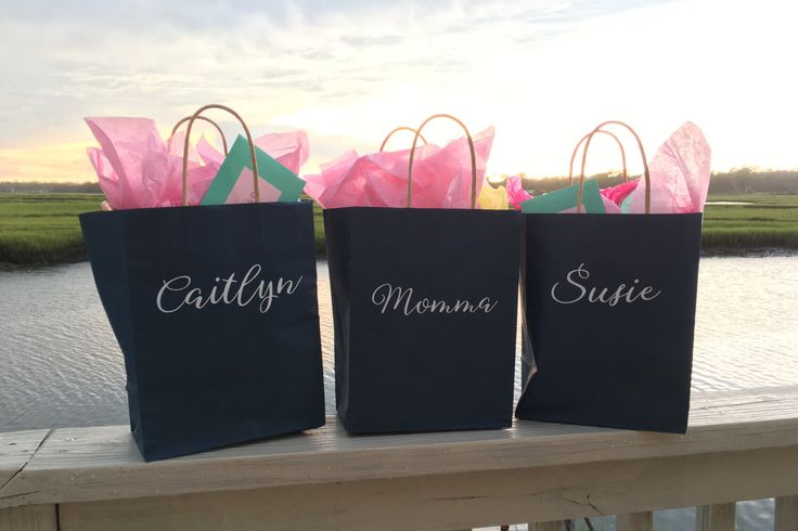 Set of 4 Custom Gift Bags with Names or Monograms! Personalized Giftbags! Perfect for Bridesmaids to fill w favors gifts belongings weddings by FutureMrsDesigns on Etsy https://www.etsy.com/listing/472915247/set-of-4-custom-gift-bags-with-names-or