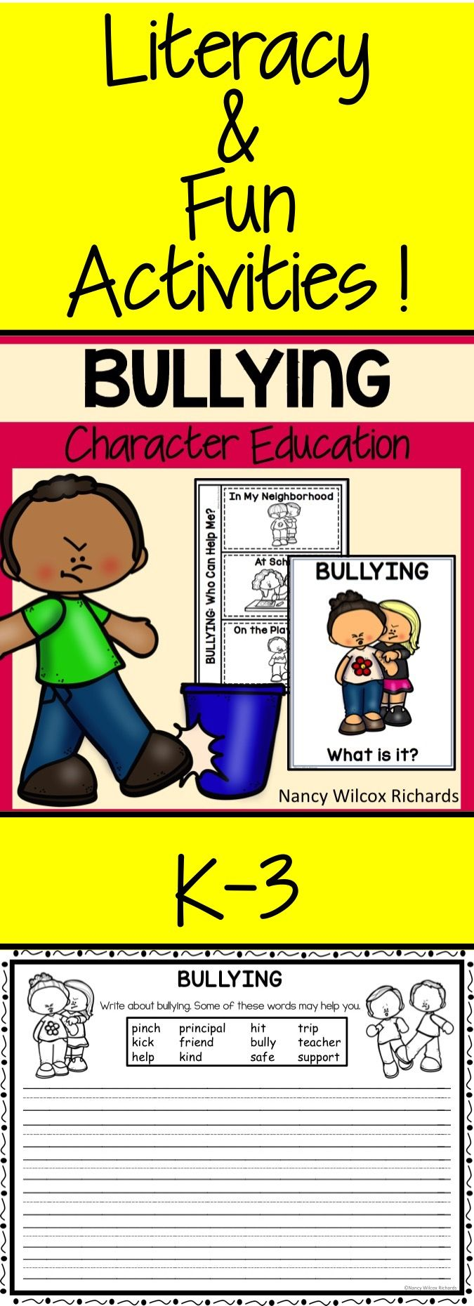 Bullying: writing, art, reader, posters, games and more! K-3.