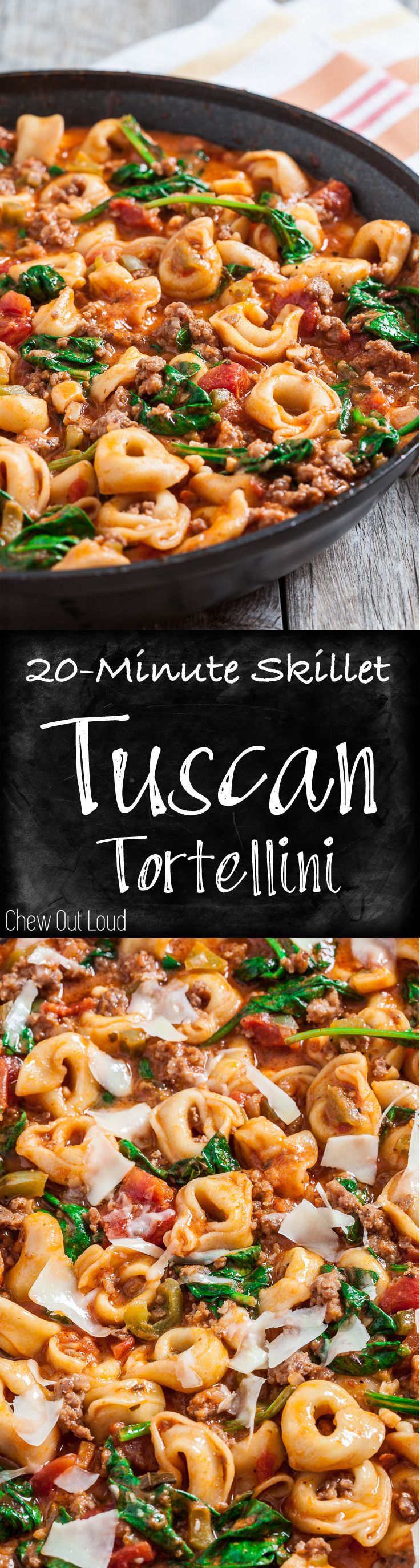 This Skillet Tuscan Tortellini is packed with flavor and is a meal-in-one! Just 20 minutes and one pan is all you need for this family-favorite dinner.