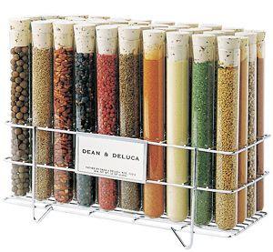 Test tube spice rack. I love the idea of using labware as home decor.