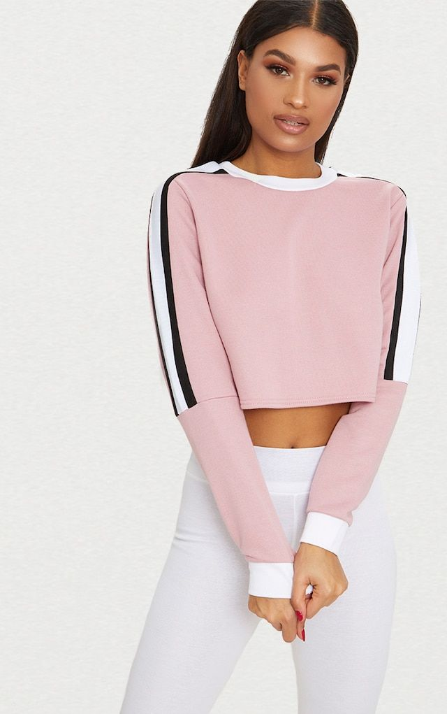 Rose Triple Shoulder Stripe Crop Sweater