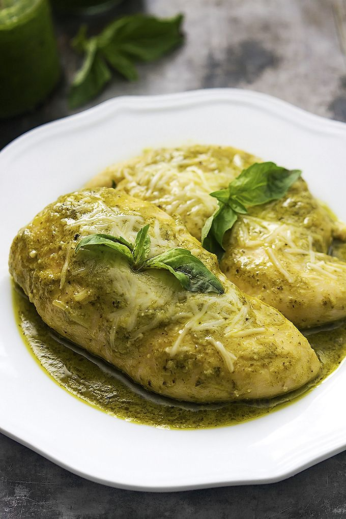 Juicy chicken slow cooked in the crockpot with a simple ranch seasoning and pesto sauce! Tons of flavor, SO easy, only 4 ingredients!