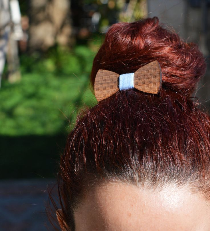 Handmade Wooden Hair Bow   Gift for Her    Women Hair Bow  Girl Hair Bow Hair Bow with Elastic Band   Walnut wood   Bow Made in Crete-Greece by DoubleOwoodcrafts on Etsy