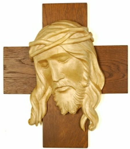 Wood carving of jesus christ on cross sacred