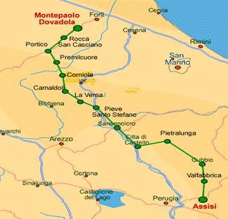 CAMMINO DI ASSISI  www.camminodiassisi.it  Da Dovadola (Forlì Cesena) ad Assisi, in Umbria, il percorso si snoda attraverso 300 chilometri ad un'altezza massima di 1250 metri. Dalle foreste tosco-romagnole si scende verso lunghi tratti pianeggianti. E' percorribile in 12-13 giorni e attraversa località come Verna, Camaldoli e Gubbio.