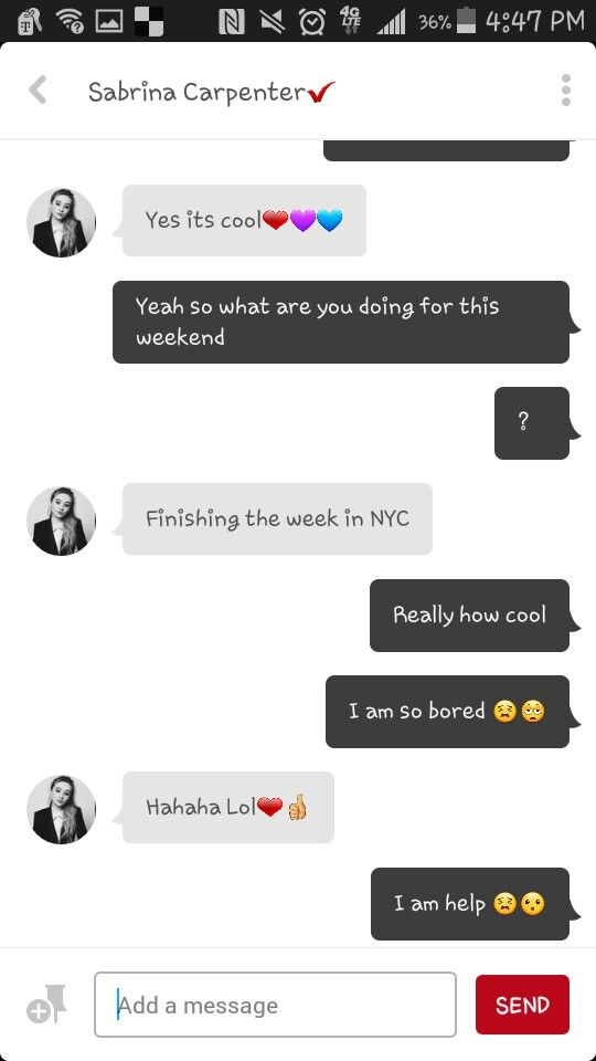 I was texting with sabrina carpenter but delete pinterest for the faking @sabrinaannlynnx