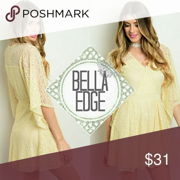 🐇EASTER🐣 Cream lace flutter dress 97% POLYESTER, 3% SPANDEX Perfect for Easter, baby showers, wedding, etc.! This lovely lace dress features long flutter sleeves, full lining, A-line silhouette and a wrapped v-neckline. Zip up closure in back.  Size small to large Bella Edge Boutique Dresses