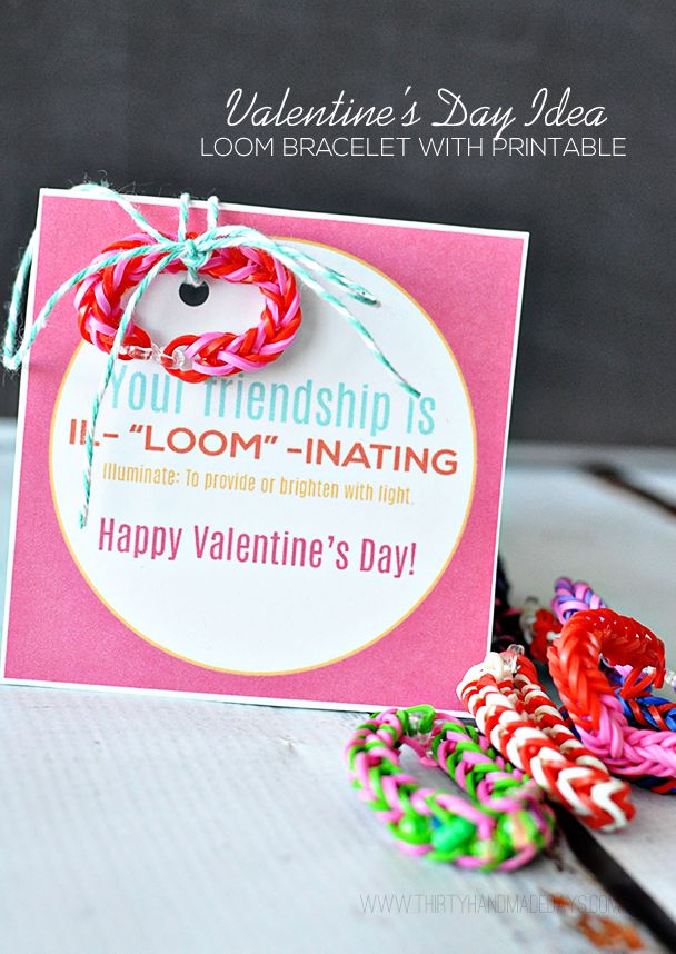 Your Friendship is Illuminating! Fun Valentine's Day idea using loom bracelets with free printable included www.thirtyhandmadedays.comValentine Day Ideas, Rainbow Loom, Loom Band, Loom Valentine, Printables Cards, Loom Bracelets, Free Printables, Rubber Band Bracelet, Rainbows Loom