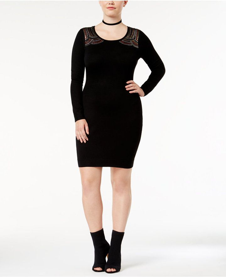 Say What Trendy Plus Size Studded Sweater Dress