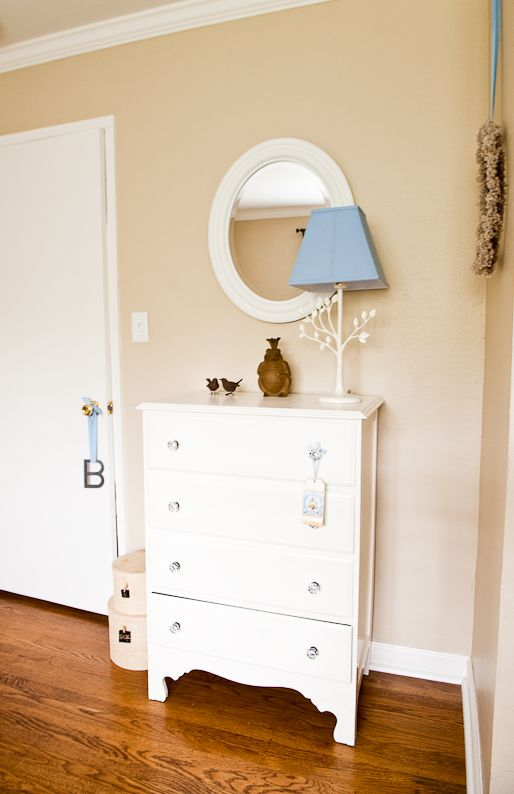 Baby Boy: Bird Theme Nursery Design & Decorating Ideas - Simplified Bee--I like the colors and the simplicity: like the lamp and clean lines