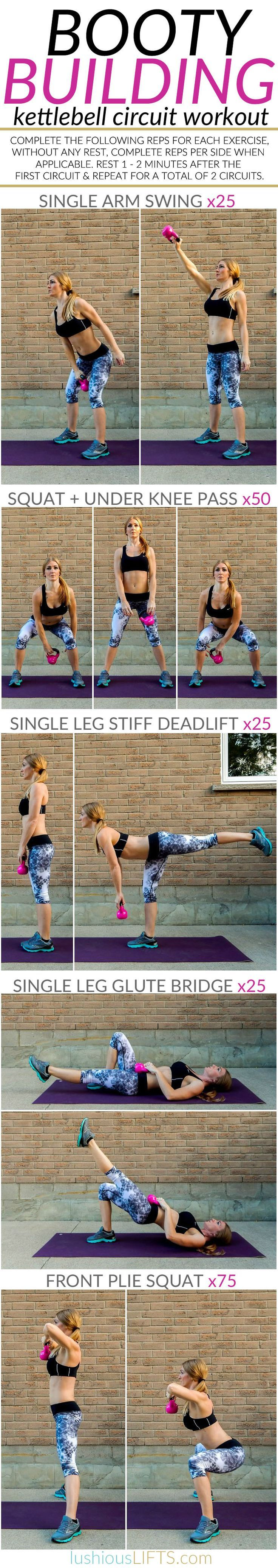 Booty Building Kettlebell Circuit #Workout    http://lushiousLIFTS.com