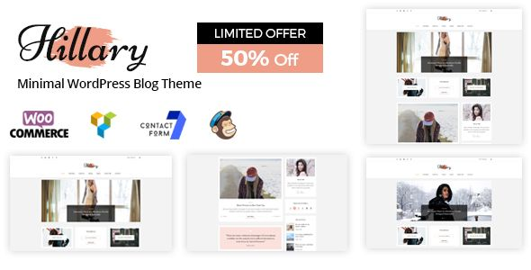 Discount - 50% off!!! Hillary is the WordPress Blog Theme. It is easy to customize and specially designed for Personal Blog like Fashion Blog, Travel Blog, Fashion Magazine Blog, Travel Blog, Food Recipe Blog etc. #food #blog #design #theme