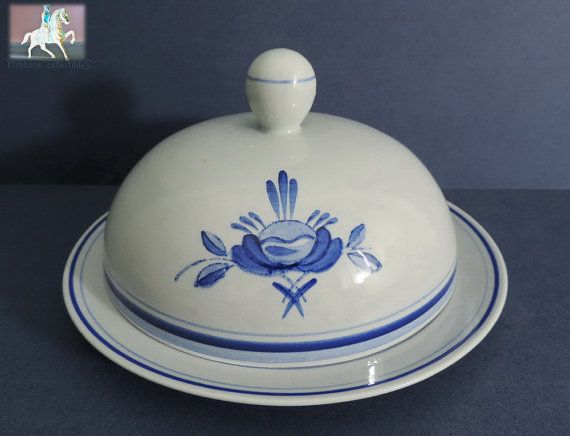 Arabia Finland Blue Rose Domed Cheese Plate Numbered Backmark