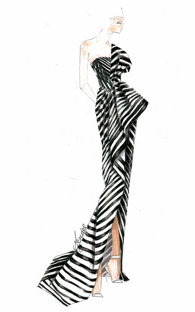 sketch of the one-shoulder black and white striped J. Mendel gown supermodel Chanel Iman wore to attend the 2013 Met Gala.