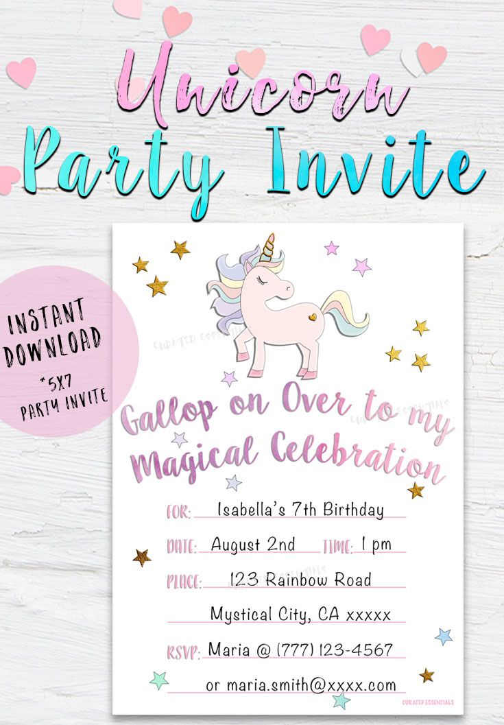 Unicorn Party Invite, Instant Download, Unicorn Birthday