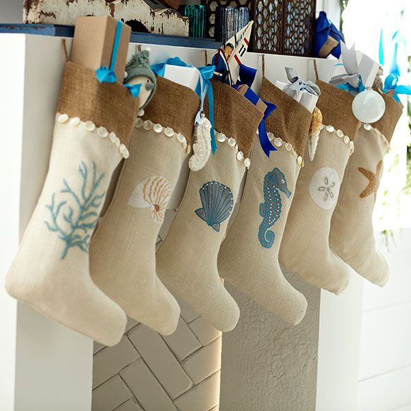 Love these colors for stockings!  I would change the sea motif to pine cones and birds to fit our Colorado retreat