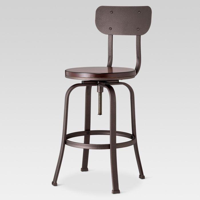 Dakota Adjustable Wood Seat Barstool Threshold Bar Stools Adjustable Bar Stools Dining Room Chairs Ikea