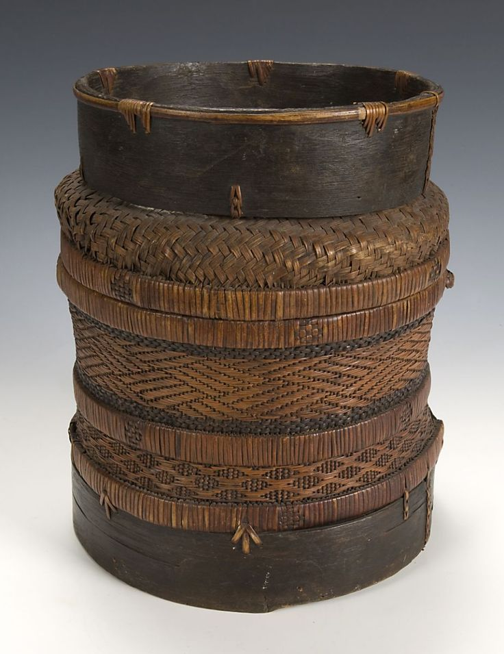 Africa | Chokwe Basket ~ Angola | Natural fibers and molded bark | Early 20th century