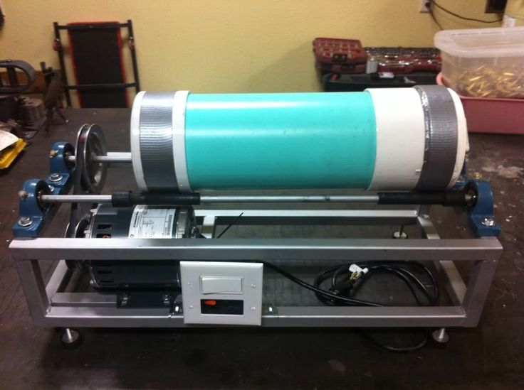 Rotary Tumbler by nicholastheczar -- Homemade rotary tumbler powered by a 1/4 HP GE motor. Constructed from PVC, square tubing, and cold rolled rods.  http://www.homemadetools.net/homemade-rotary-tumbler