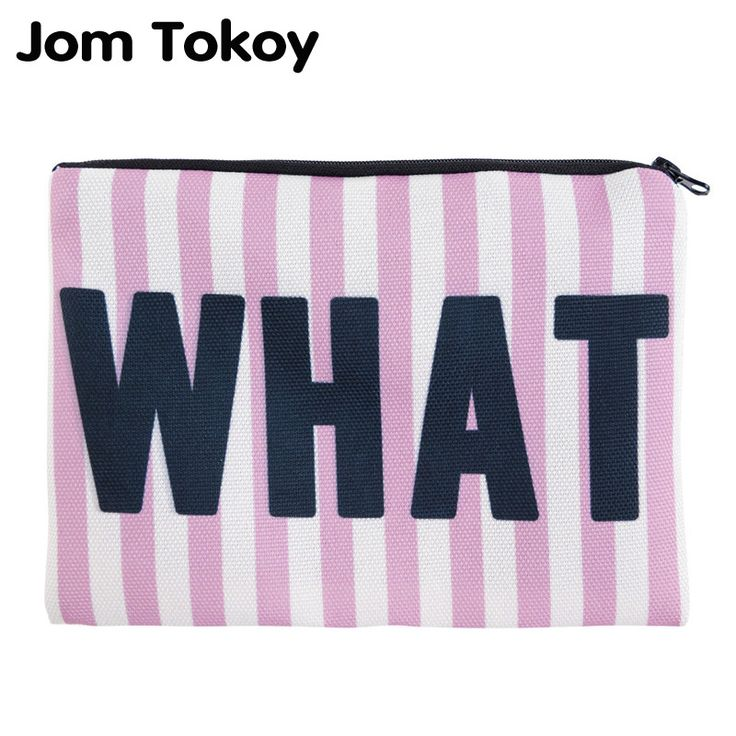 BUY now 4 XMAS n NY. Jom Tokoy Simple Square Cosmetic Bags 3D Printed Whatever Pink Stripes Makeup Polyester Travell  ~ Just click the image will lead you to find similar trending pieces on  AliExpress.com