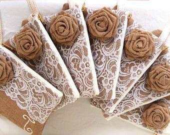 Embrague 5/personalizado arpillera encaje embrague / damas de honor de embrague embrague y encaje / pulsera / /burlap de regalo dama rosa-express envío