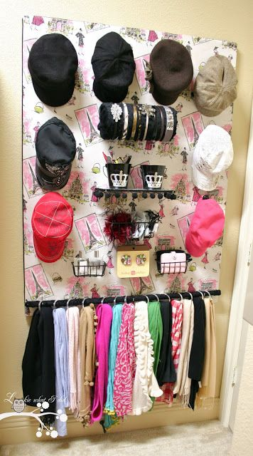 DIY Tutorial-- A Closet Organizer for Her: with hooks for Hats, a DIY Headband Holder, a fabric covered wooden dowel with shower curtain rings for Scarves, buckets to hold Lint Brushes, Scissors, & other Small items, basket to hold Pins for jackets & sweaters, two other baskets for Perfume, Gloves, Fingernail Kit, hooks for holdinf Decorative Snaps for ballet flats & flip-flops