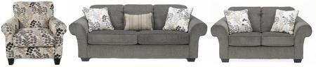Makonnen Collection 78000SLAC 3-Piece Living Room Set with Sofa Loveseat and Accent Chair in Charcoal and Winter