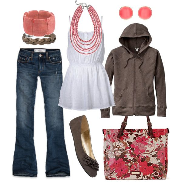 trade the hoodie for a cardigan, and it's perfect. :): Pink Flower, Coral, Dreams Closet, Dresses Up, Color, Super Cute, Accessories, Mom Outfit, Bags