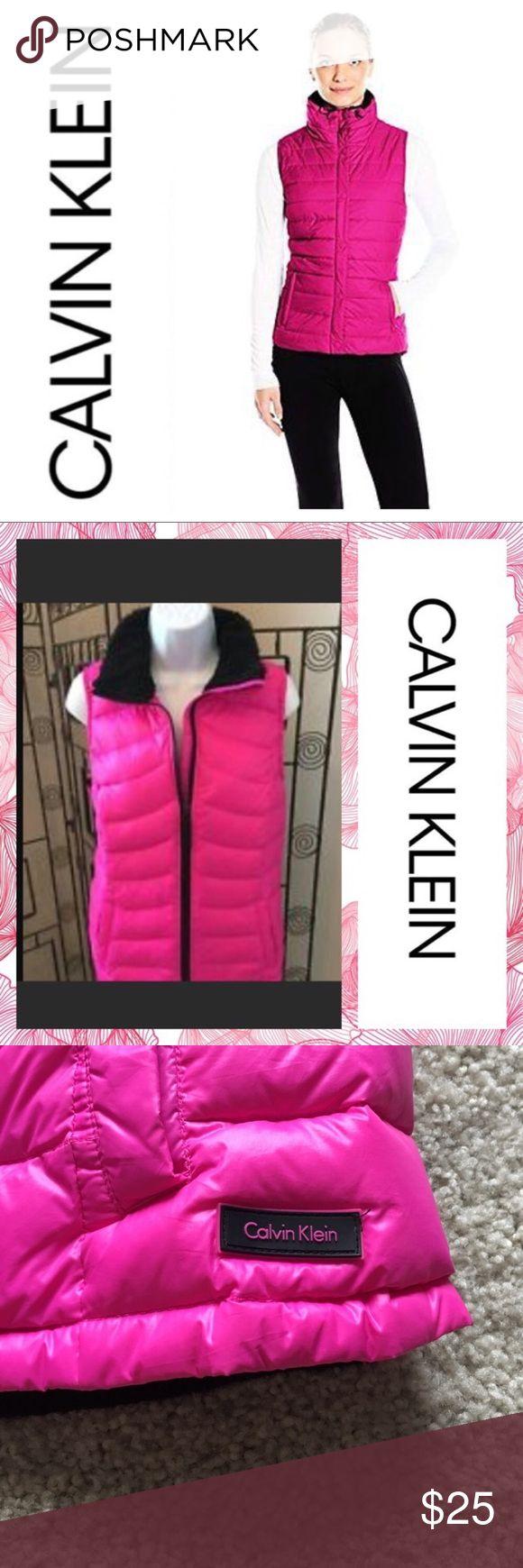 Calvin Klein pink puffer vest Calvin Klein pink puffer vest, wonder resistant, MP3 pocket, size medium only worn once Calvin Klein Jackets & Coats Puffers