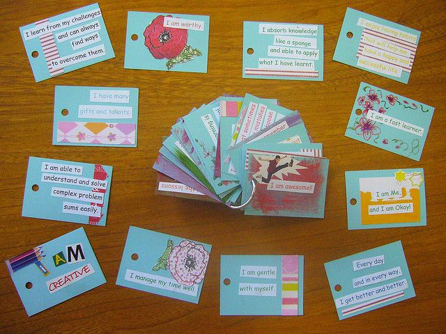 I am, I Think I Am, I Don't Think I Am:  Use a set of affirmation cards or make your own.  Have the child sort the cards into 3 piles.  Discuss how the cards ended up in the piles.  How did you decide to put them there?  I noticed you don't think you are caring…tell me about that….understanding the child's perspective…level of self esteem…self awareness Affirmation Cards for Children by limevelyn, via Flickr