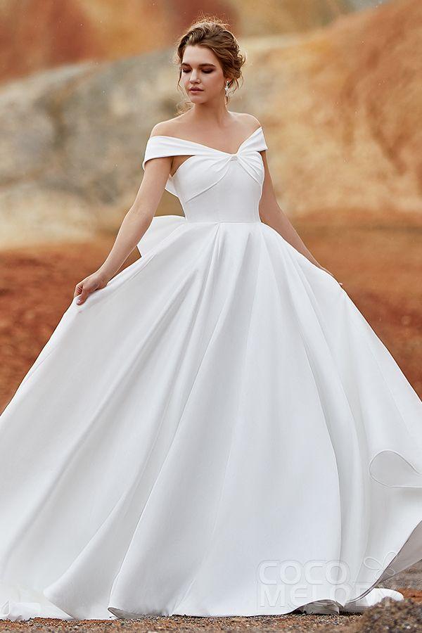 85cde5abbaa A-Line Court Train Silk satin Wedding Dress LD5801 in 2019 | 2019 ...