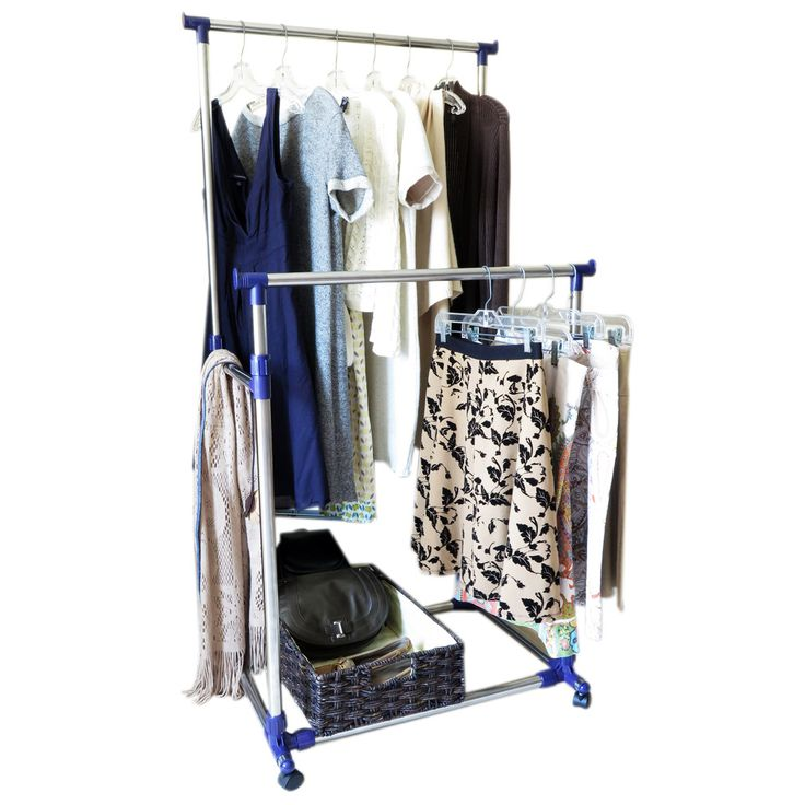 This portable clothes rack with double horizontal bars is great for organizing your clothes and saving space all at once. This clothing rack can be moved easily with its convenient wheels at the base