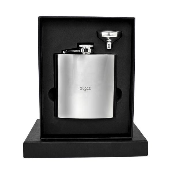 A perfect gift for anyone who likes a wee warming drink, this personalised 6 fl oz hip flask is made of stainless steel. Available to buy online now!