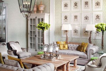 Luxurious cream living room with accents of lemon & lime traditional living room