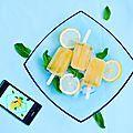 Sucettes glacées aux deux citrons, orange et menthe (popsicles)