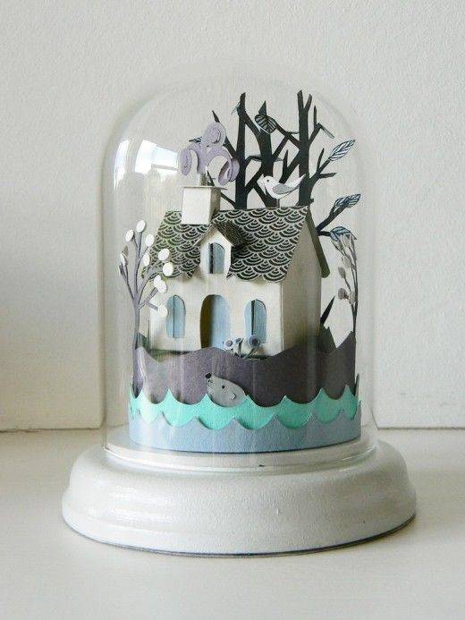 Paper cut in glass dome by Helen Musselwhite