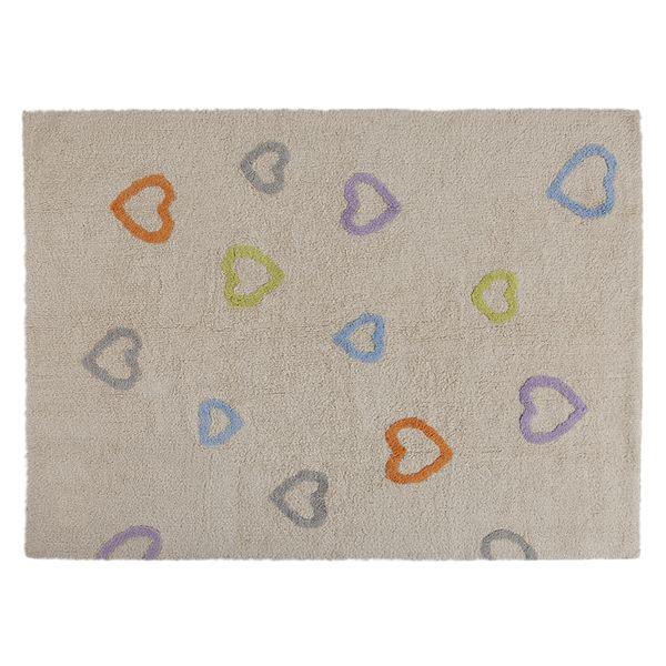 The Adorable Multicoloured Hearts Washable Nursery Rug Is Handmade From 100 Cotton It S Very