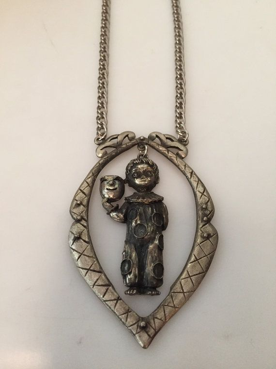 1970s Vintage Child MIME PENDANT Necklace by thepopularjewelry