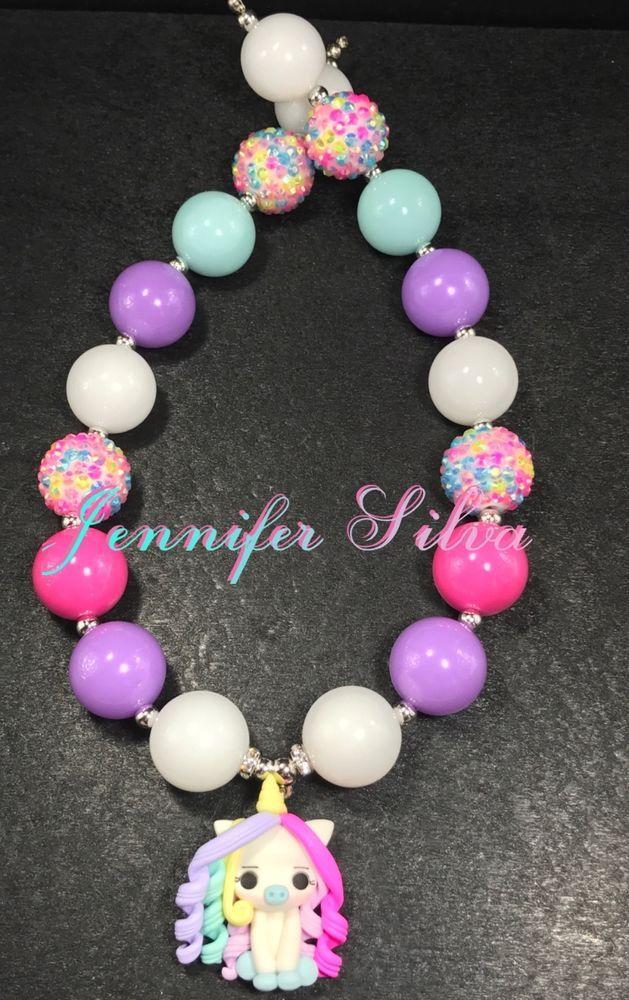 Unicorn Clay Chunky Bubblegum Necklace   Jewelry & Watches, Fashion Jewelry, Necklaces & Pendants   eBay!