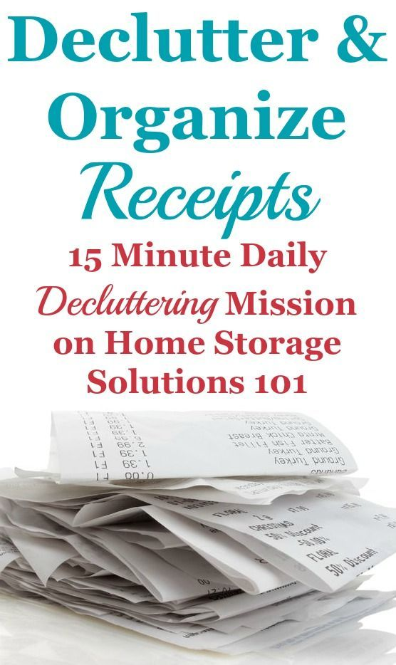 How to declutter and organize receipts that have accumulated as paper clutter in your home, including guidelines on how long to keep various types of receipts before tossing {a #Declutter365 mission on Home Storage Solutions 101}