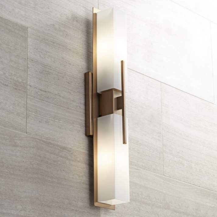 W Burnished Br Bath Light