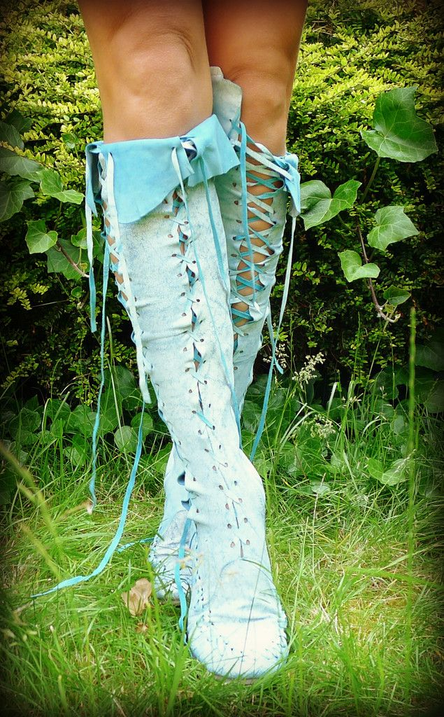 White Paint on Turquoise Knee High Leather Boots- these come in lots of different colors and fabrics