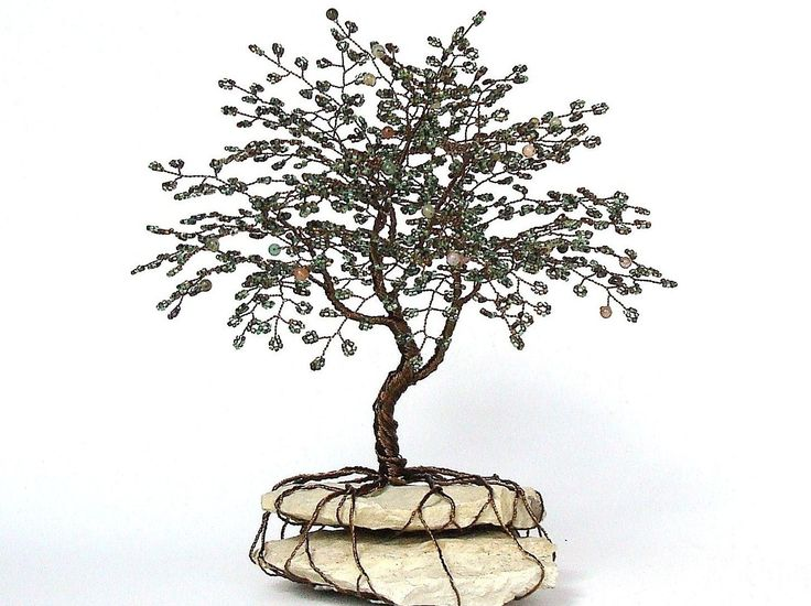 Life wire tree summer beaded bonsai wire tree sculpture for How to make a wire tree of life sculpture