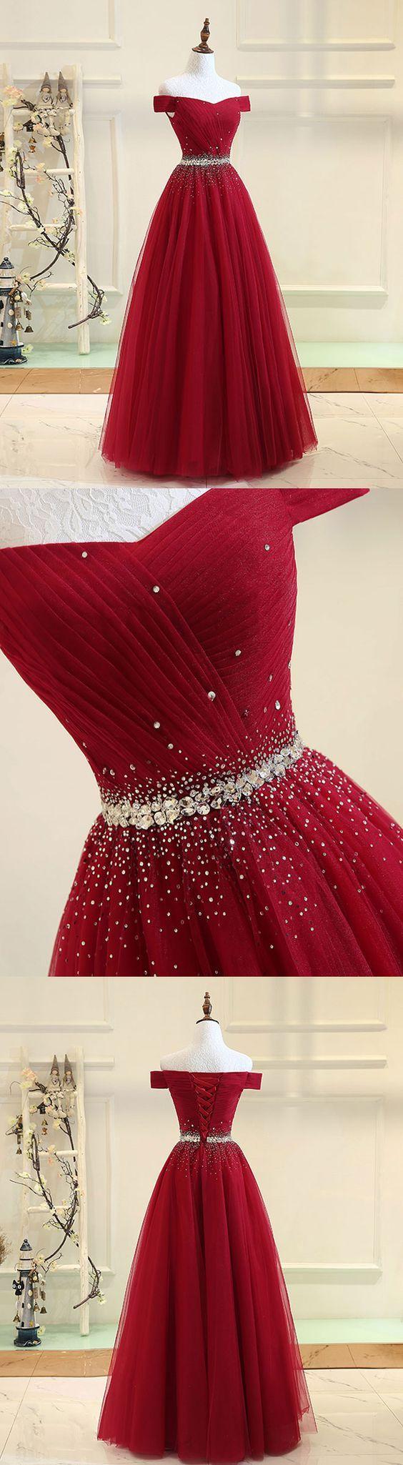 Burgundy tulle off shoulder long prom dress, burgundy evening dress M1204