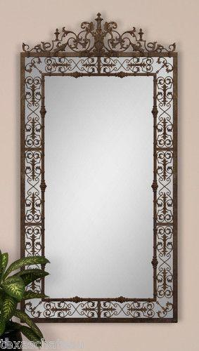 """82"" Spanish Colonial Revival Mexican Hacienda Iron Scroll Wall Mantle Mirror | eBay"""